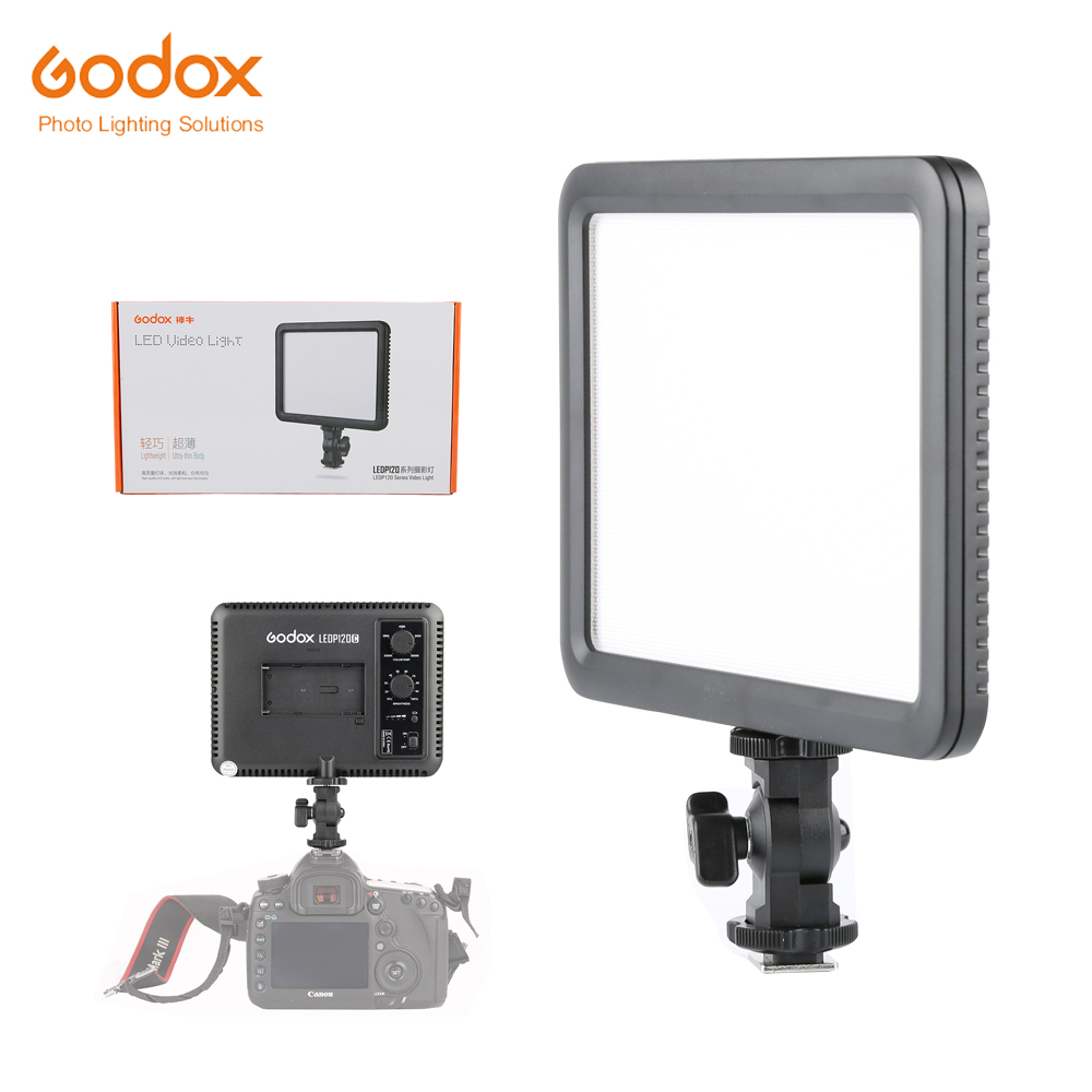 Godox LEDP 120C 116pcs Ultra Slim LED Studio Video Continuous Light Dimmable with Dimmer Lamp for Camera Camcorder godox led light ultra slim p120c studio continuous led video light lamp with panel for camera dv camcorder 3300k 5600k