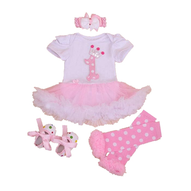 Princess Crown 1-й День Рождения Наряды 4 ШТ. Новорожденных Юбки Лета Ребенка Комплектов Одежды Мода Детская Одежда Малышей Одежда