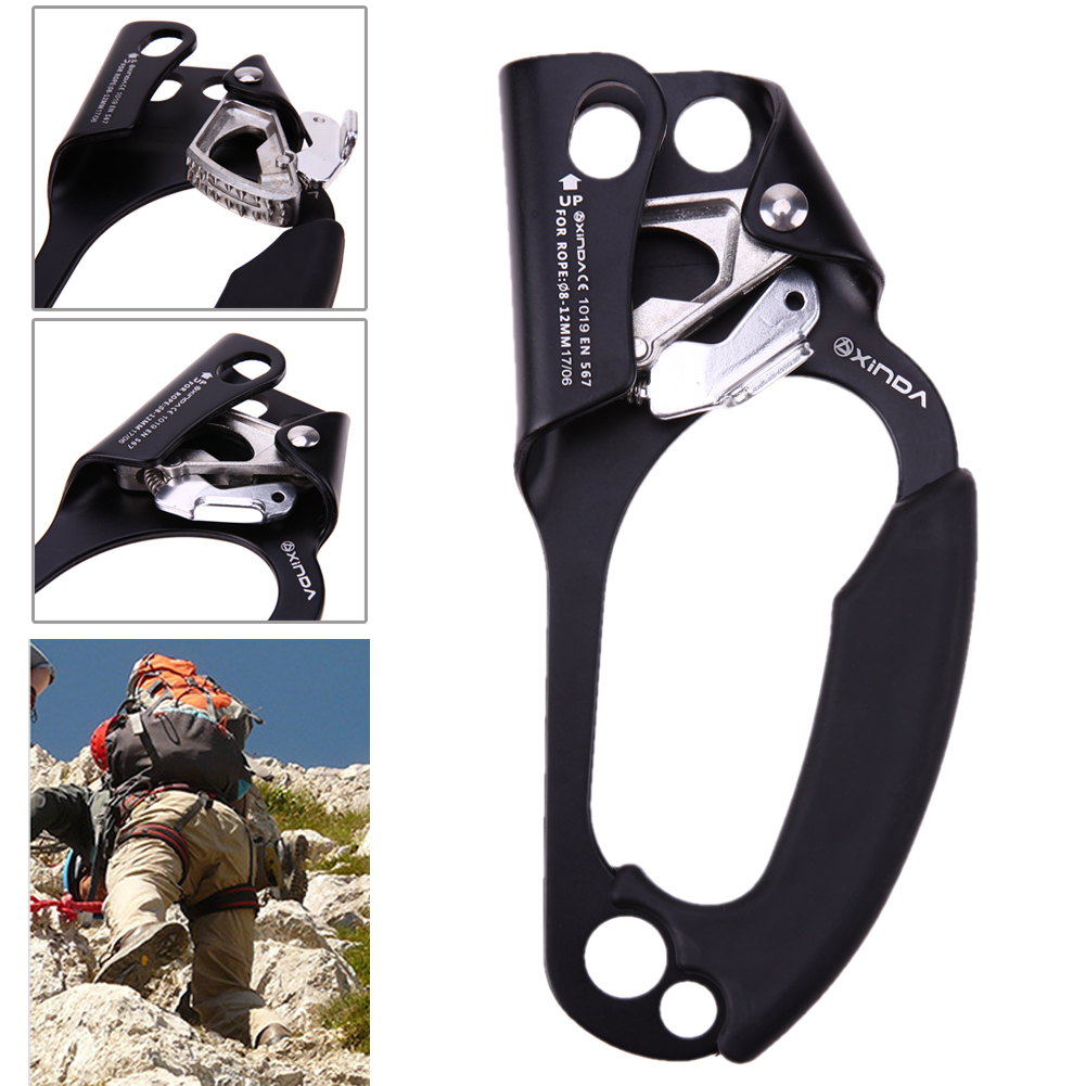 1Pcs Black Professional Rock Climbing Right Hand Grasp Ascender Device Riser For 8-12mm Rope Outdoor Climbing Accessories e0037 right hand ascender professional aerospace aluminum ascenders for outdoor mountaineering rock climbing
