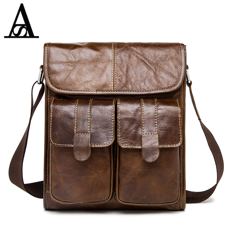 ФОТО AITESEN 2017 Men Bags Genuine Leather Gift For Husband Super Satchel Bag Portfolio Hangbag Business Bag Shoulder Bag Messenger