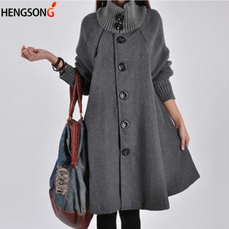 Autumn Warm Woolen Coat Female single-breasted windbreaker winter cloak knit long-sleeved high trench Coat
