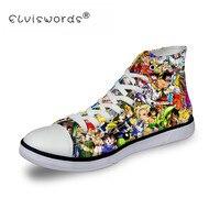 ELVISWORDS/Вулканизированная обувь с принтом «Жемчуг дракона», высокие холщовые кроссовки, дизайн «Five Nights at Freddy», повседневная обувь на низком к...