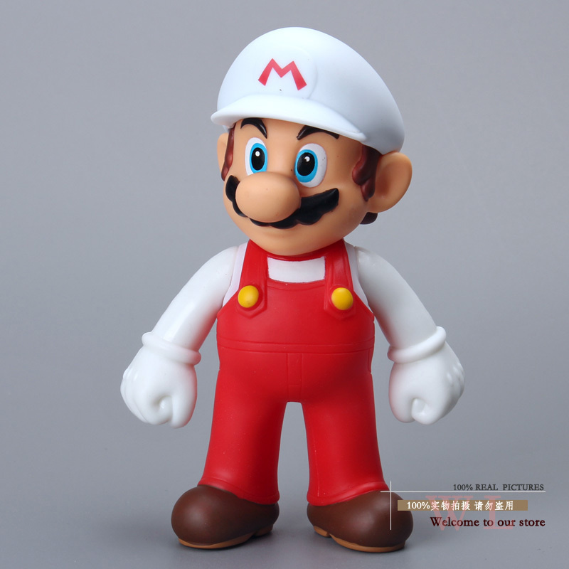 Free Shipping Super Mario Bros Figures Mario with White Hat PVC Action Figure Model Toy Doll 5 12cm SMFG199 classic toys super mario bros character mario pvc action figure collection model toy doll 5 12cm new in retail box