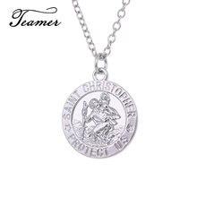 Colar corrente com pingente medalhão, teamer saint batistador proteção católica acessórios de joias religioso corrente de cor prata