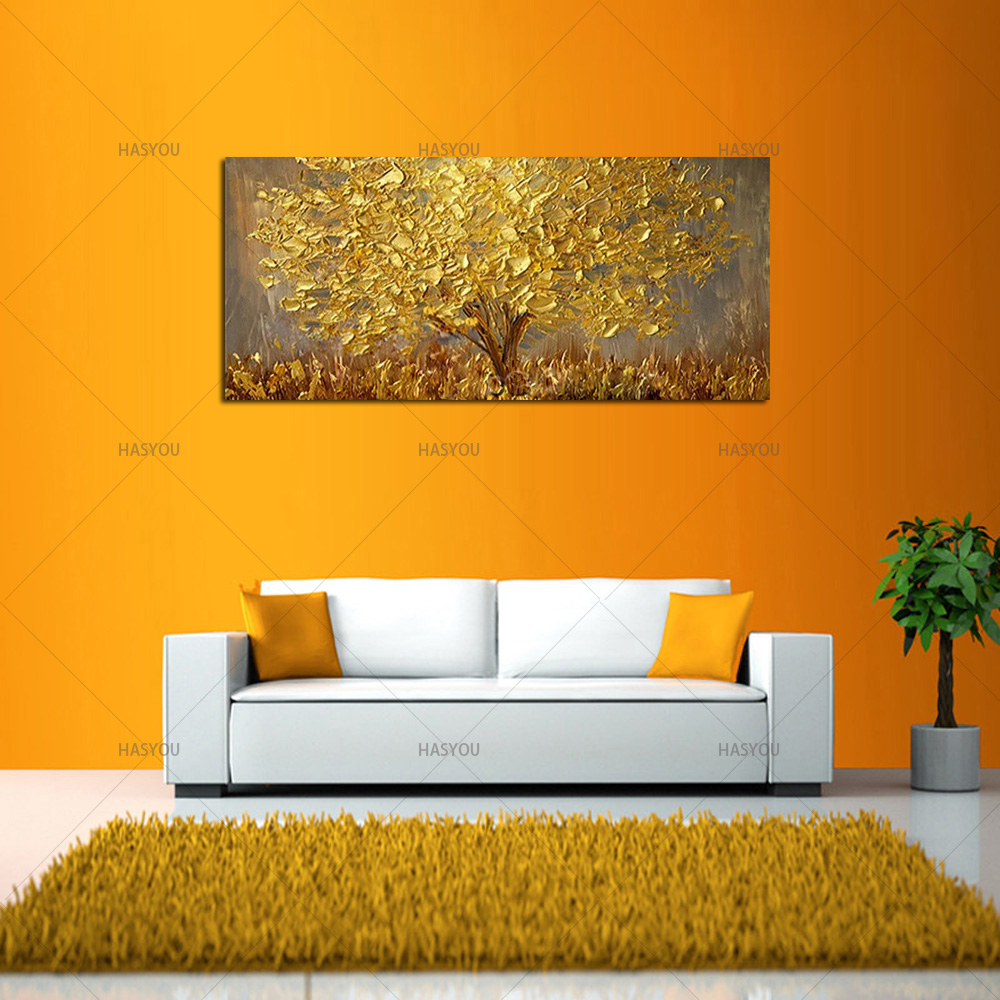 HTB1APLjcgfH8KJjy1zcq6ATzpXaL Hand Painted Knife Gold Tree Oil Painting On Canvas Large Palette 3D Paintings For Living Room Modern Abstract Wall Art Pictures