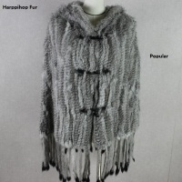 Harppihop fur Women real Rabbit Fur Shawl with hood Fur Poncho Female hat and fashion fur shawl cloak tassel hooded cape