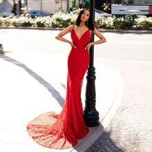 Женское длинное платье на тонких бретельках eightree красное