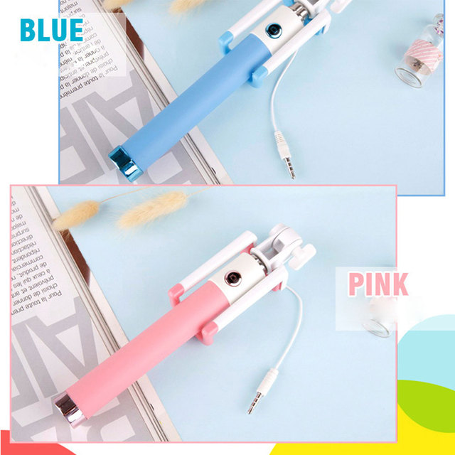 Universal Mini Selfie Stick With Button Wired Silicone Handle Monopod For iPhone 6 5 Android Samsung Huawei Xiaomi Sticks