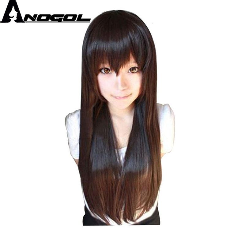 Anogol Long Straight Red White Pink Blue Orange Black
