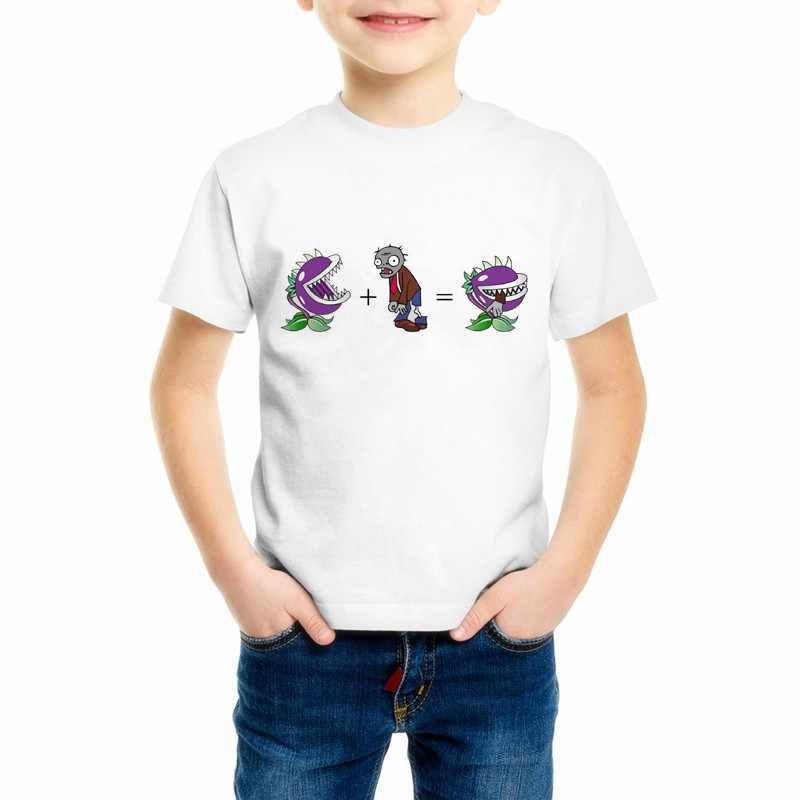 Children Plants Vs Zombies T-Shirts Boys Short Sleeve T shirt Kid Nut wall Tops Girls Cartoon Game Cute Baby Clothes 55C-16