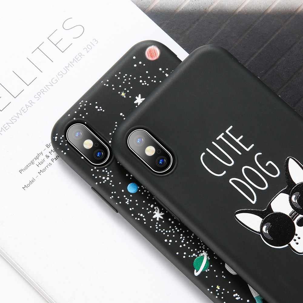 BEIJOS Estrelas Lua Pattern Case Para iPhone 7 8 6 6 S Mais Bonito Do Gato Do Cão Macio Em Relevo Caso de Telefone para o iphone X XS MAX XR Covers