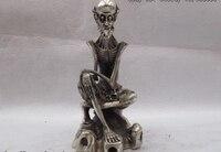 Китайский народный Классический Белый Медь Бронза Серебряный Череп человеческие кости люди статуя