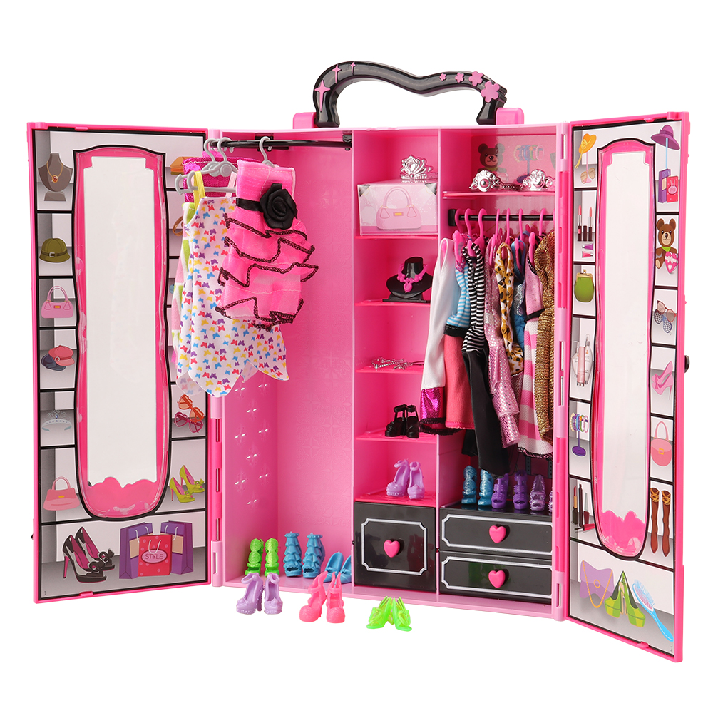 Dollhouse Furniture 43 Items/Set=Wardrobe +5 Dress +12 Doll Shoes +10 Dolls Hanger +15 Accessories Objects For Barbie Christmas