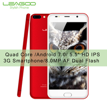 Leagoo M7 смартфон Quad Core 16 г Встроенная память 1 г Оперативная память Android 7.0 Móviles 5.5 «HD IPS спереди отпечатков пальцев двойной назад Камера 3000 мАч
