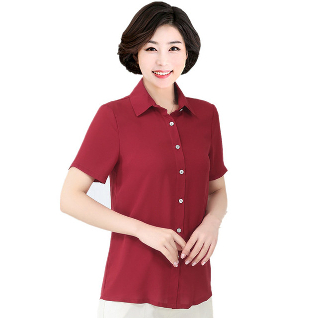 Women s Blouse Large Size 6xl 7XL Middle-aged Female Short-sleeved Shirt  Tops Mother Summer Loose Chiffon Blouse Clothes 0a4372a41b7b
