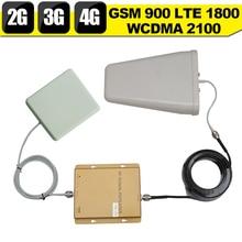 2G GSM 900 3G WCDMA 2100 4G LTE 1800 Tri-band Handy handy Signal Booster 65dB Telefon repeater 2g 3g 4g telefon repeater 2017 NEUE