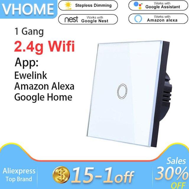 Interruptor táctil Vhome Ewelink, Panel de Interruptor táctil para hogar inteligente Wifi de 2,4G, aplicación Alexa de Control Wifi estándar UE/Reino Unido, panel de pared inteligente