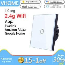 Vhome Ewelink Touch Switch,2.4G Wifi Smart Home Touch Switch Panel,EU/UK Standard Wifi Control Alexa App,Smart Wall panel