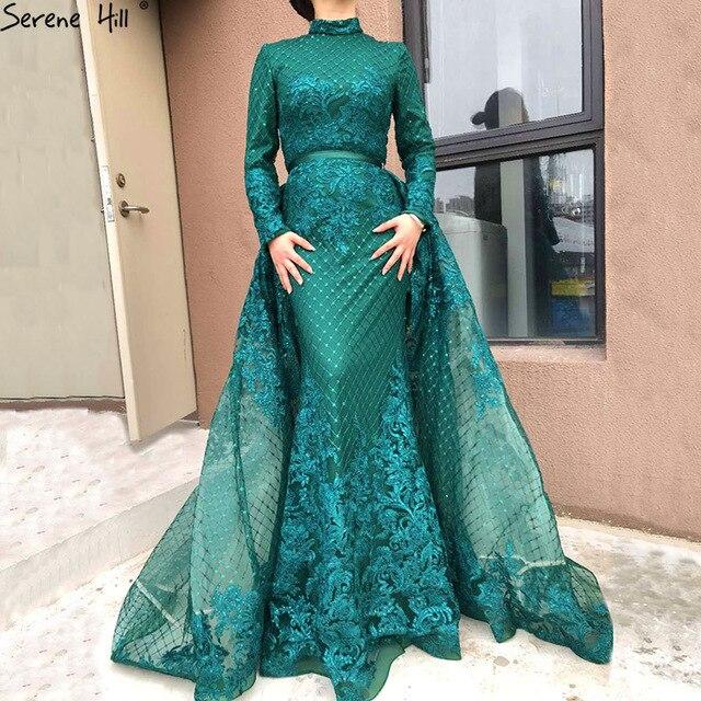 15b80df0bd Muslim Long Sleeve High Neck Kaftan Dubai Green Lace Mermaid Formal Evening  Prom Gown Dress With skirt BLA6542