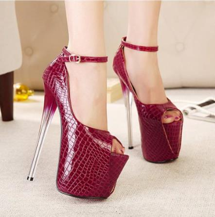 Extreme High Heels 19cm Women Pumps PU Leather Peep Toe Wedding Dress Shoes Clear Heels Strappy Sexy Lady Platform Shoes Size 43