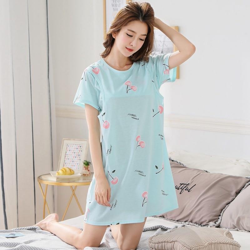 Summer Women Maternity Nursing Cherry Printing Breastfeeding Nightwear Letter Maternity Pajamas Bird Casual Pregnancy Pajamas