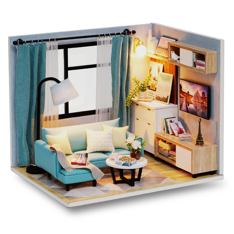Cutebee Doll House Furniture Miniature Dollhouse DIY Miniature House Room Casa Toys For Children DIY Dollhouse H17-3