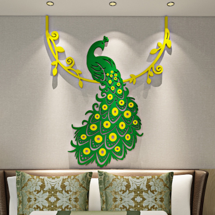 Crystal acrílico hermosas pavo real 3d pared Pegatina dormitorio Home Decor