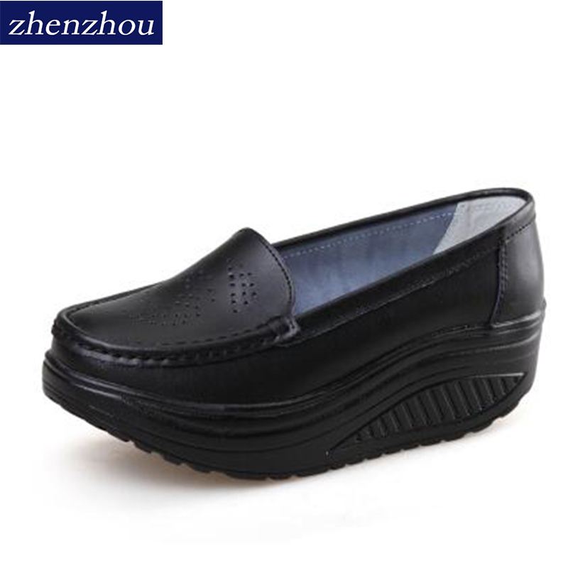 Free shipping 2017 Spring summer shake shoes Breathable hollow out Single women shoes The nurse's shoes white and platform shoes women creepers shoes 2015 summer breathable white gauze hollow platform shoes women fashion sandals x525 50