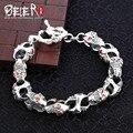 Beier 925 prata esterlina pulseira cadeia mão do vintage zircão elo da cadeia pulseira crânio acessórios homens jóias sctyl0147