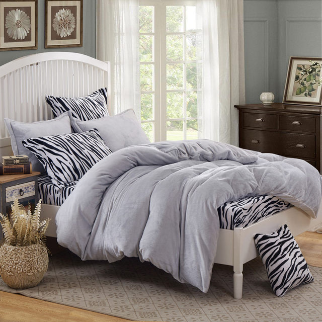 Leopard Fleece Bedding Set King Flannel Duvet Cover Zebra Bed Sheet Super  Warm Soft Bed Linen For Winter Bedding Home Textile