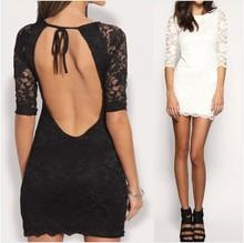 Summer style Women lace bodycon bandage Dress slim sexy backless half sleeve dresses Plus Size S-2XL Women Dress Vestidos W761