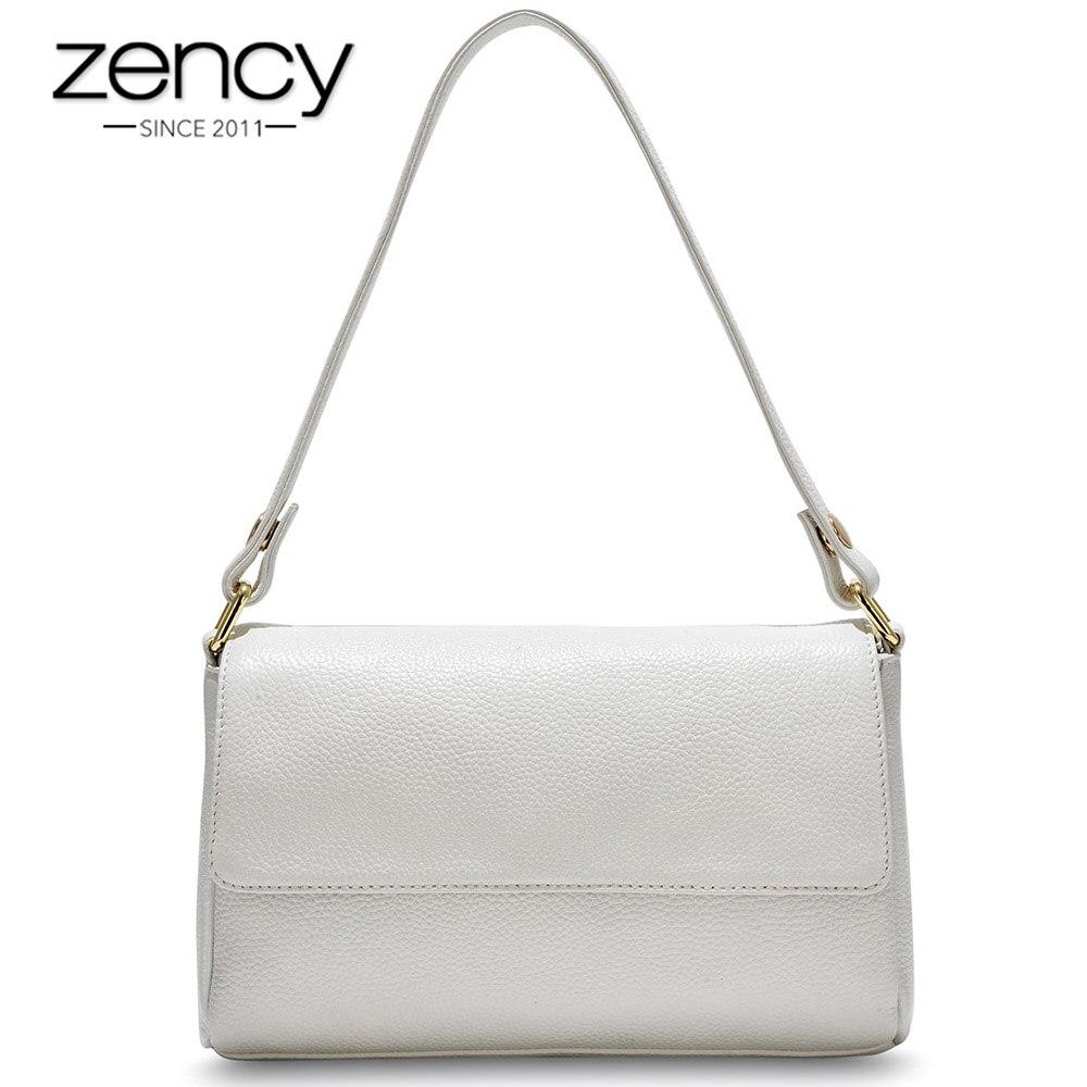 Zency New Model Women Shoulder Bag Black White Handbag 100 Genuine Leather Female Crossbody Messenger Purse