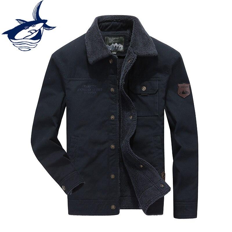 Chaqueta Parka para hombre otoño invierno abrigo marca Tace & Shark Chaqueta Hombre piel forro bordado exterior chaqueta militar hombres talla grande 4XL