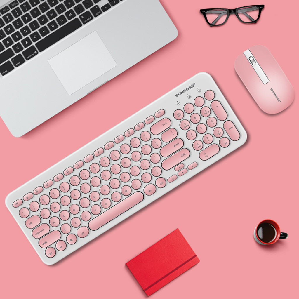 SUNROSE T85 Wireless Keyboard And Mouse Combo Keyboard With Round Keycaps 2.4GHz PC Gamer PINK Teclado Quiet Design Ladies Kit eye shadow