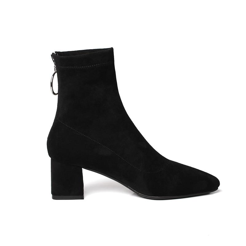 Tacón Tobillo Vaca Bolso Cr1561 Invierno Moda Mujeres Gruesos Cremallera Black Tacones Mujer Gamuza Metal Punta Zapatos brown De Enmayer Alto Botas wYEqPP