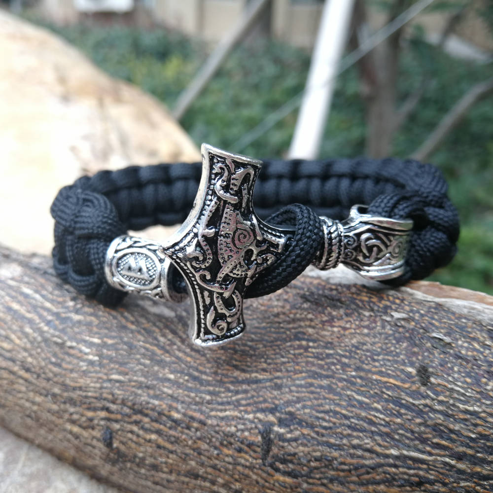 Black Paracord Bracelet Celtics Viking Runes Beads Axe Talisman Charm Braided Rope Men Bangles Jewelry