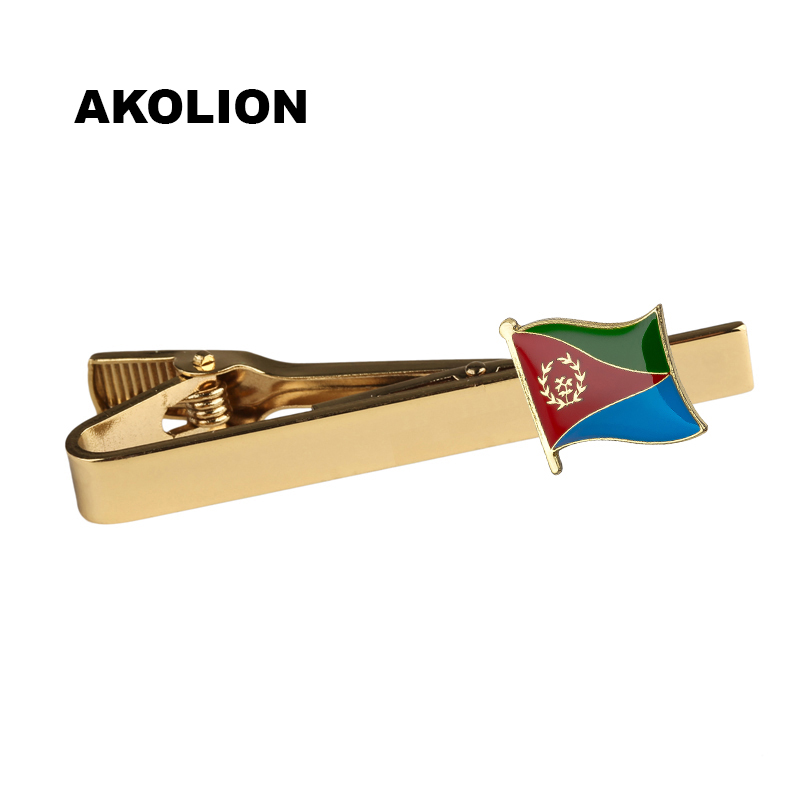 Classic Metal Tie Clip Eritrea Nation Flag Tie Bar Gold Tie Pin For Formal Dress Shirt Ceremony Tie Clamp KS-0056