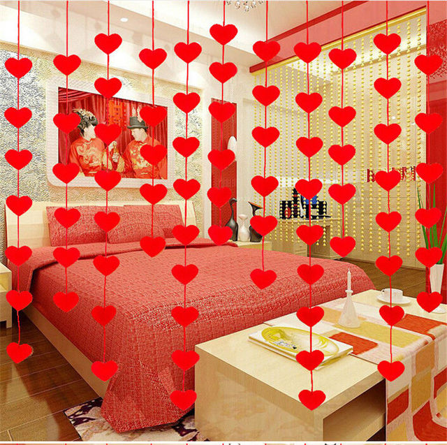 Red Love Heart Curtain Non Woven Garland Flags Banner Wedding Room