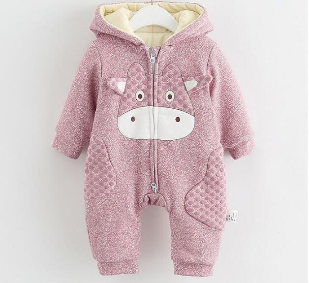 40cc12966 Winter Baby Romper Animal Thick Warm Baby Boys Girls Clothes Hooded ...