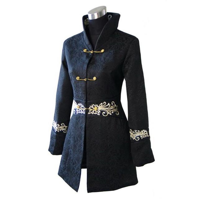 Hot Sale Preto Tradicional das Mulheres Chinesas de Algodão Longo do Revestimento do Revestimento de Inverno casacos Tamanho S M L XL XXL XXXL 4XL Frete Grátis