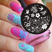 Pandox Charming Spring Nail Art Stamp Template Image Plate Nail Stamping Plate AP24 Nail Stamp Plates Set