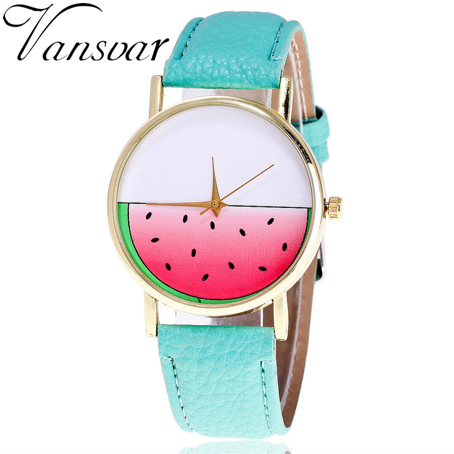 Vansvar Brand Cute Leather Watermelon Watch Casual Fashion Ladies Women Wrist Watches Unique Quarzt Watch Relogio Feminino V41 vansvar brand vintage leather human anatomy heart wrist watch casual fashion ladies women quartz watch relogio feminino v46
