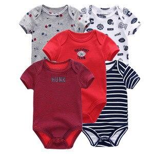 Image 2 - Monos unisex de manga corta para bebé recién nacido, mono con cuello redondo de 0 a 12M, ropa de bebé, conjuntos de ropa de bebé, lote de 5 unidades