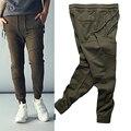 Corredores Del Motorista de la moda Slim Fit Pitillo pantalones Deportivos Pantalones Harem Hombre Hip Hop Swag de la Ropa Verde de Justin Bieber
