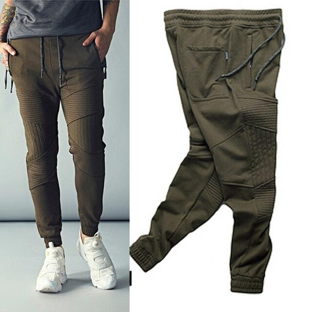 Fashion Biker Joggers  Slim Fit Skinny Sweatpants Harem Pants Man Hip Hop Swag Clothes Clothing Men Green Justin Bieber