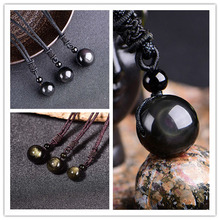 Rainbow Eye Obsidian Golden obsidian Bead Pendant Necklace Drop Shipping Good Luck Jewelry For Woman Men