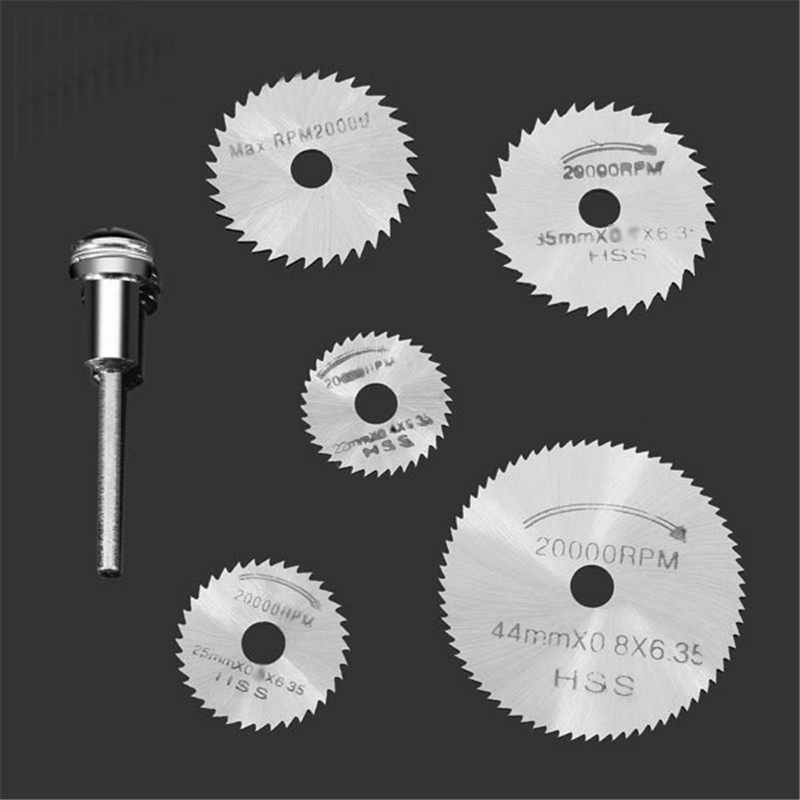 6pcs/set Rotary HSS Circular Saw Blade Cutter Power Tool Set Wood Cutting Discs Drill Mandrel for Dremel Cut off 6pcs mini hss saw circular saw blade rotary tools for dremel metal cutter jigsaw blade wood cutting discs drive for cutting wood
