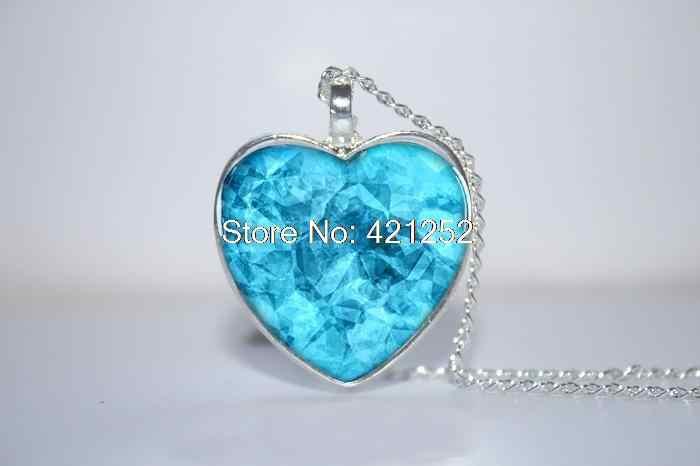10pcs Lot Blue Crystal Heart Pendant