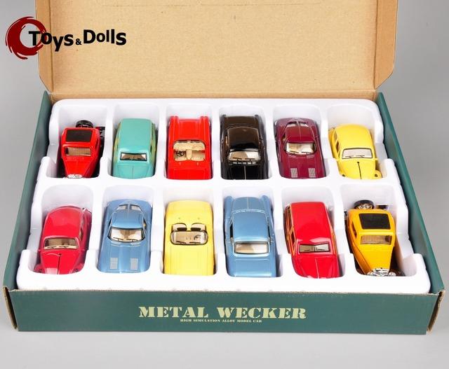 1/32 escala Bluesun Mini juguetes modelo de coche modelo de la aleación Diecast Metal Wecker coches modelo 12 unids/set juguetes para niños brinquedos colecciones regalos E