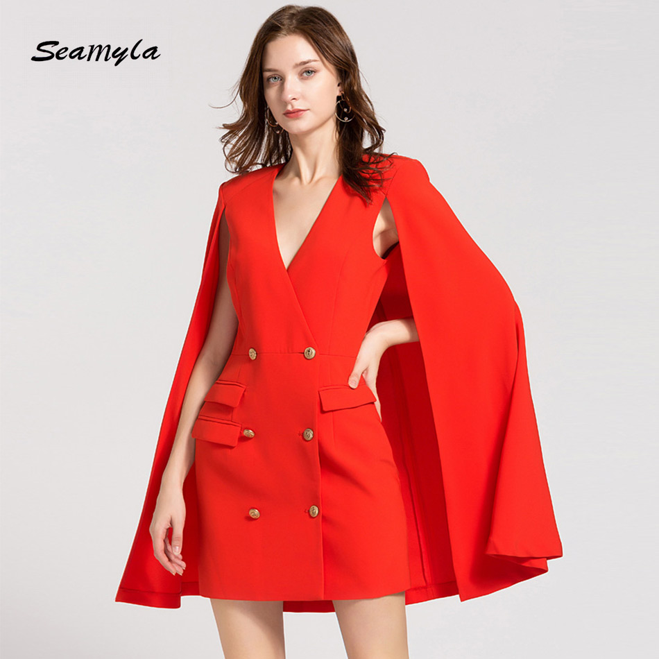 Couturière nouveautés femmes cape robe mode rouge noir élégant robes de piste boutons d'or célébrité robe de soirée Vestidos